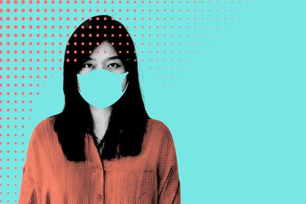 코로나바이러스 전염병 삽화 동안 얼굴 마스크를 쓴 여성