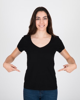 Woman wearing black blouse