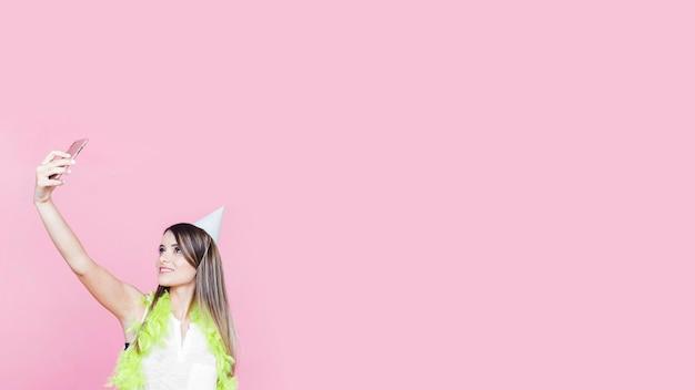 ボア、パーティー、帽子、ピンク、背景