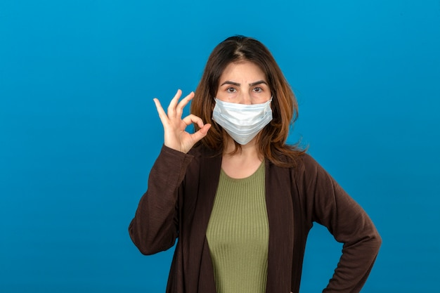 Woman wearing brown cardigan in medical protective mask looking confident doing ok sign standing over isolated blue wall
