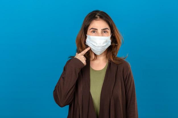 Donna che indossa cardigan marrone nella maschera protettiva medica che indica la maschera con lo sguardo sicuro che controlla parete blu isolata