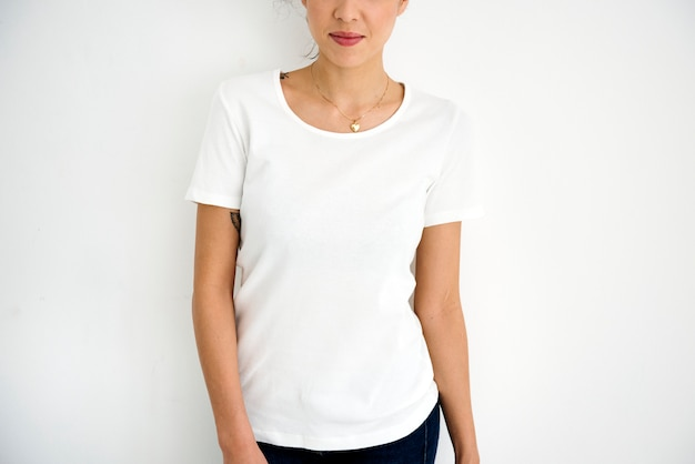 Woman wearing design space white tee