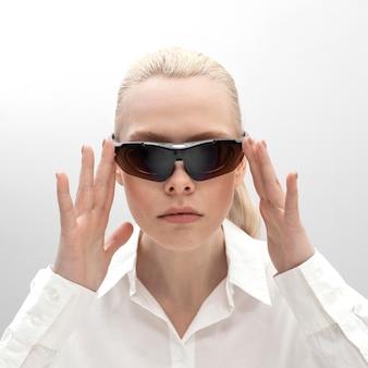 Woman wearing digital glasses