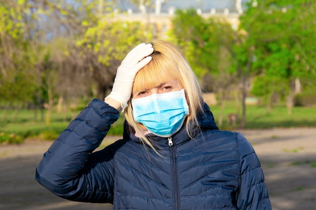 Woman wearing face mask during corona virus and flu outbreak.