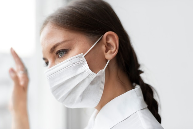 Woman wearing face mask in the new normal