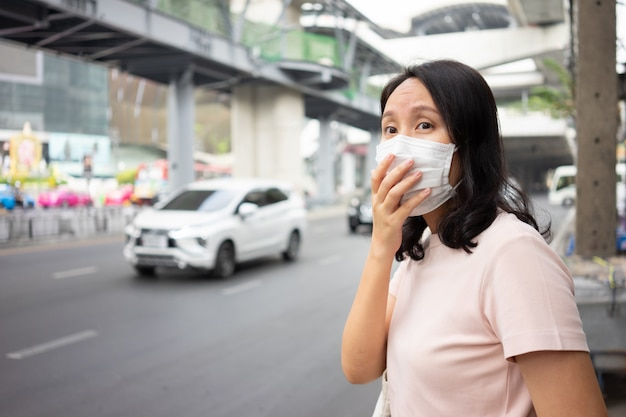 Woman wearing face mask protect filter against air pollution (pm2.5)