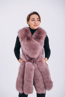 Woman wearing fur isolated
