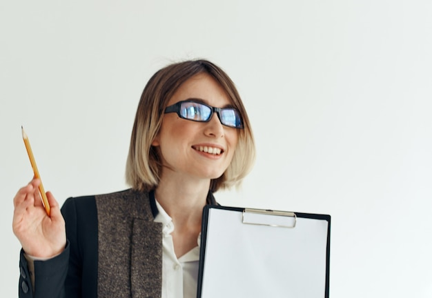 Woman wearing glasses with document folder hand and business finance mockup