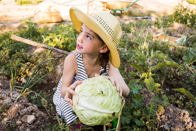 Woman wearing hat holding cabbage in the field