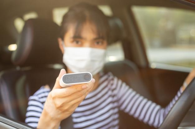 Woman wearing hygienic mask prophylactic.
