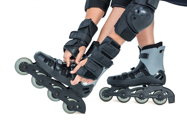 Woman wearing inline skates