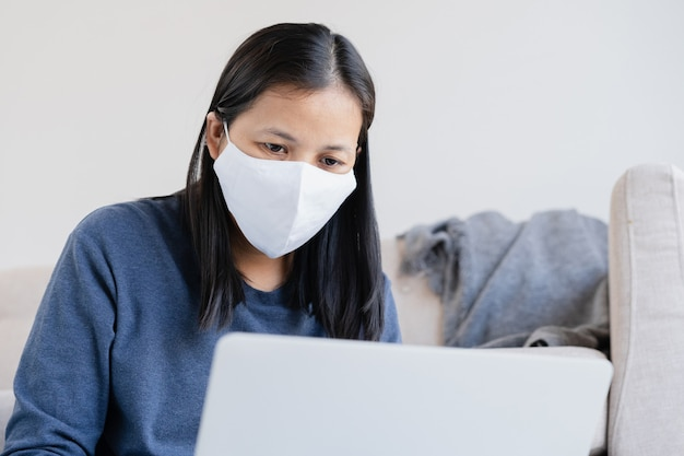 Woman wearing a protection mask