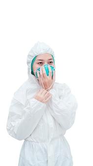 코로나바이러스 covid-2019 전염병과 싸우기 위해 보호복을 입은 여성
