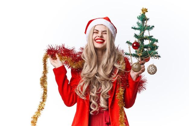 サンタコスチュームデコレーションギフトクリスマスを着ている女性