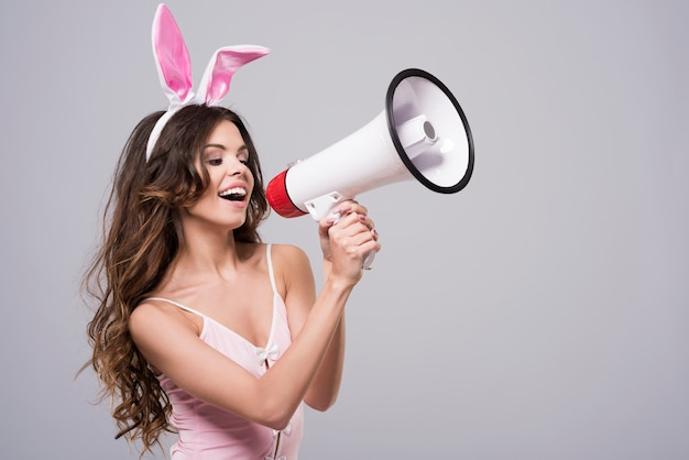 Woman wearing sexy bunny costume
