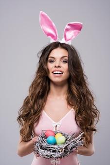 Woman wearing sexy bunny costume