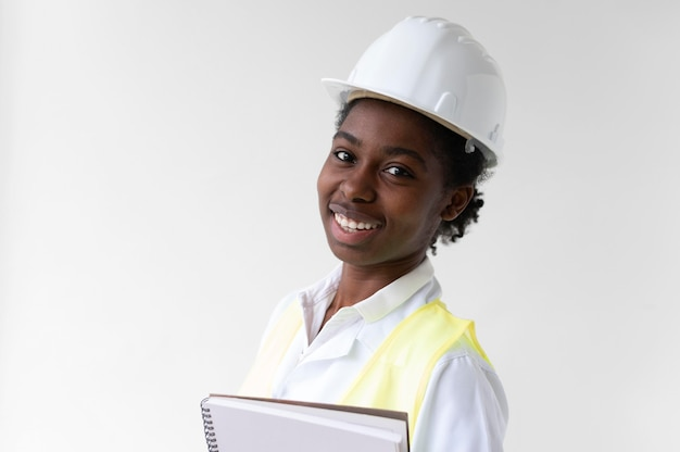 Woman wearing a special industrial protective equipment
