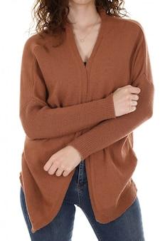 Woman wearing a sweatshirt in studio