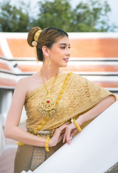Woman wearing typical thai dress