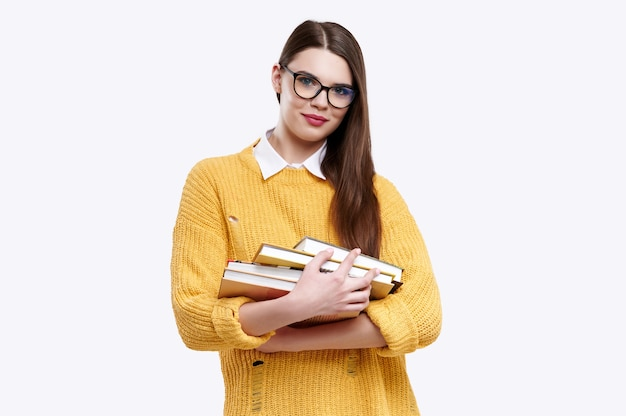 Woman wearing a yellow sweater