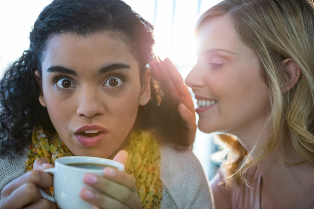 Woman whispering a secret into her friends ear while having coffee