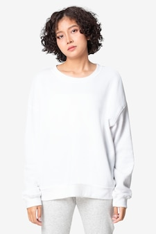 Woman in white basic sweater casual apparel