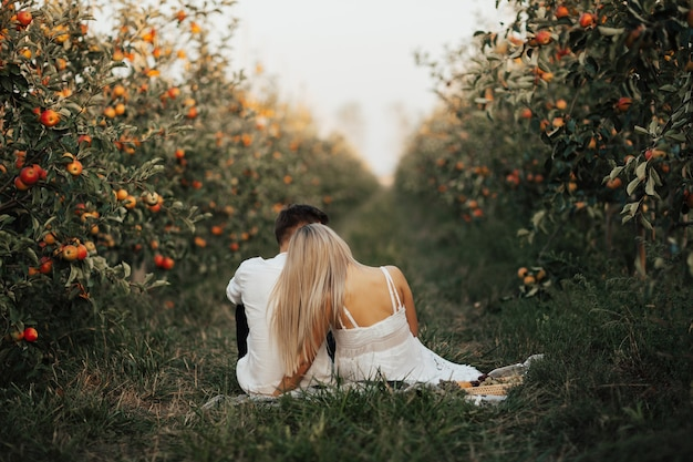 Woman in white dress and man in white shirt are having picnic in apple garden.