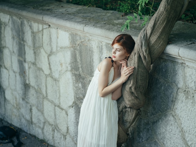 Woman in white dress nature luxury landscape