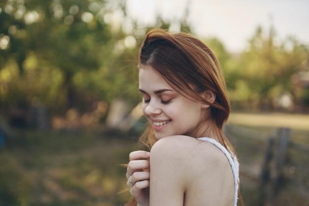 Woman in white dress outdoor fun sun freedom