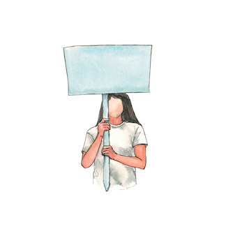 Woman in white t-shirt with blank placard