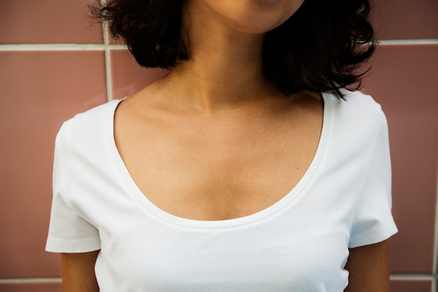 Woman in white tee