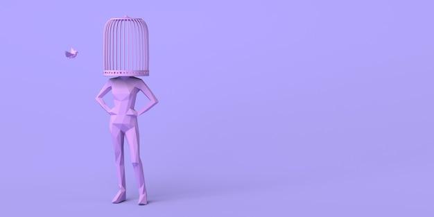 Женщина с клеткой вместо головы с летящей птицей концепция свободы психическое здоровье копирование пространства