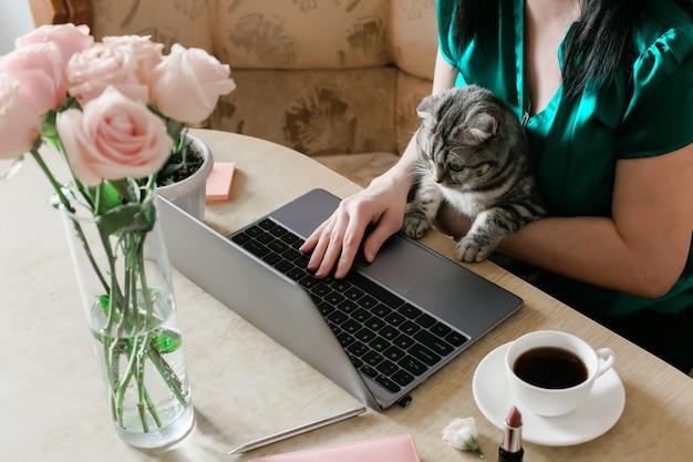 Женщина с кошкой на руках работает на ноутбуке
