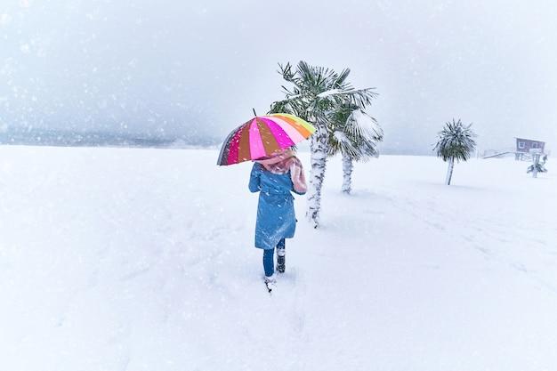 Женщина с цветным зонтом среди вечнозеленых пальм, покрытых снегом