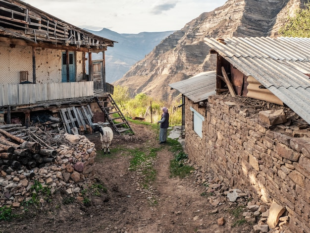 ヤギを持つ女性。山の村の絵のように美しい通り。ダゲスタンの古い村。ダゲスタン共和国カヒブの村にある田舎の石造りの家。ロシア。