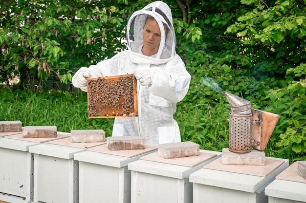 양봉에 꿀벌과 왁스 프레임을 가진 여자