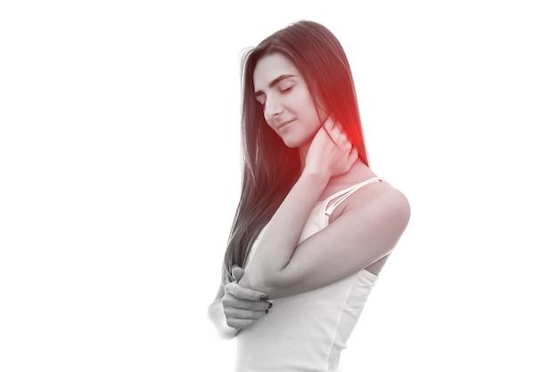 白で隔離の首の痛みを持つ女性