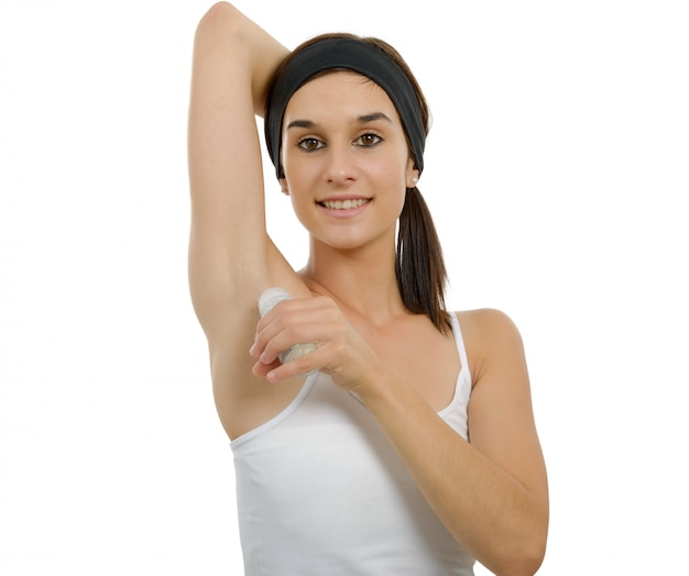 Woman with antiperspirant deodorant