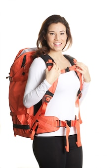 Woman with big backpack