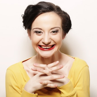 Woman with big happy smile