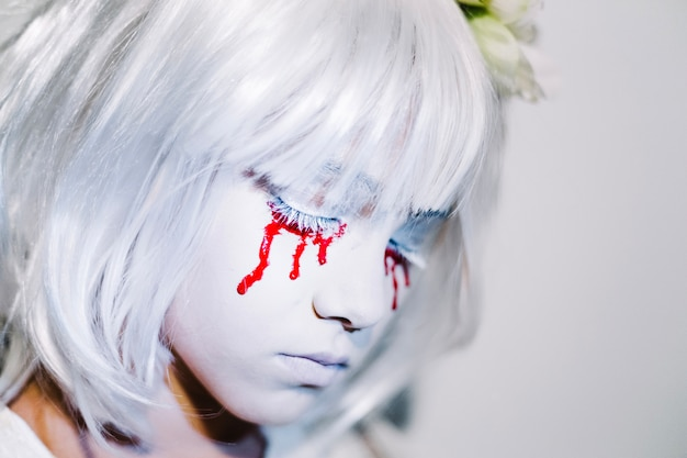 Woman with bloody eyes