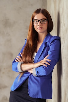 Woman with blue blazer