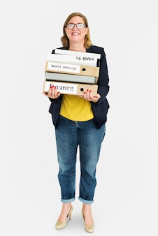 Woman with a bunch of folders