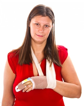 Woman  with a cast on finger