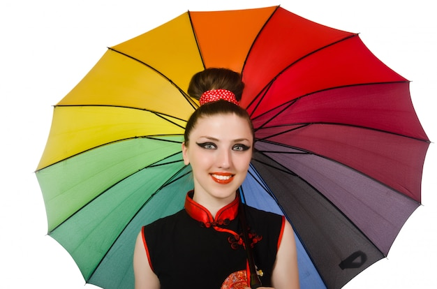 Woman with colorful umbrella isolated