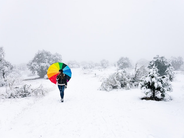 Woman with colorful umbrella walking in the forest during a snowfall.