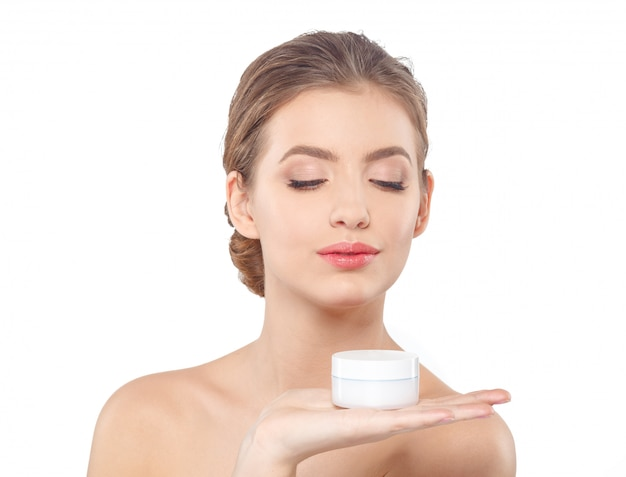 Woman with cream face