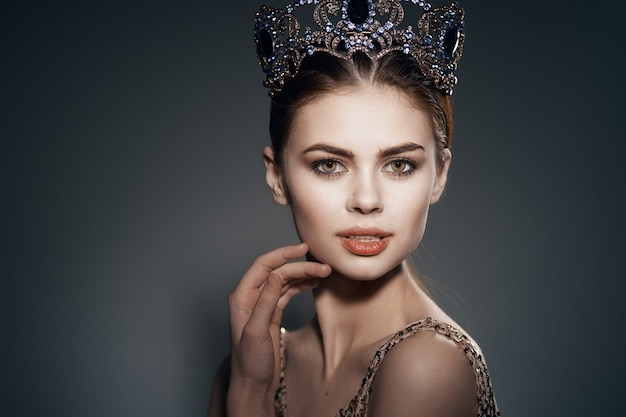 Woman with crown on her head decoration glamor luxury princess