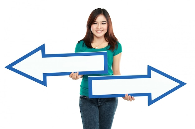 Woman with directory  arrows