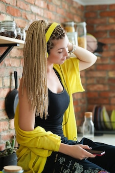Woman with dreadlocks